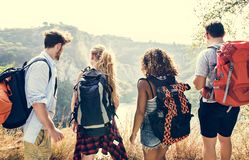 Backpackers on an adventure together stock photo