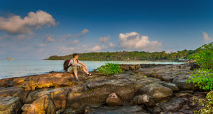 Backpackers on the Bay Royalty Free Stock Photos