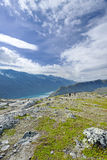 Backpackers at Besseggen ridge. At Jotunheimen national park, Norway Royalty Free Stock Image