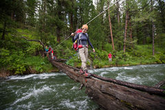 Backpackers are crossing mountain river. By wooden log in Altai mountains, Russia royalty free stock images