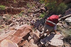 Backpackers descending the Tonto Trail in Mineral Canyon in Grand Canyon National Park. Backpackers descending the Tonto Trail in Mineral Canyon in Grand Canyon stock image