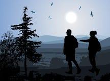Backpackers die vallei van mening genieten vector illustratie