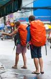 Backpackers europeos en Vietnam Fotos de archivo libres de regalías