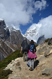 Backpackers in the Everest base camp trail stock photos