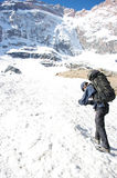 Backpackers in the hike. Tajikistan Royalty Free Stock Image