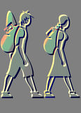 BACKPACKERS ICONS. Icons about a Girl and a Boy Travelling Around The World Stock Image