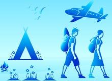 Backpackers no feriado ilustração stock