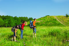 Backpackers observing the area Stock Photography