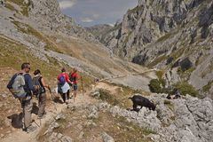 Backpackers in Picos de Europa mountains Cantabria Spain royalty free stock photos