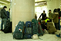 Backpackers in Tokyo Stock Image