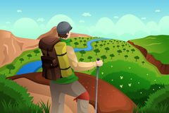Backpackers on top mountains Royalty Free Stock Photo