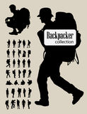 Backpackersilhouetten Stock Afbeeldingen