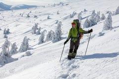 Backpackervrouw het stellen in de winterbergen Royalty-vrije Stock Foto