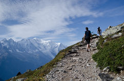 Backpacking in Alps Royalty Free Stock Photos
