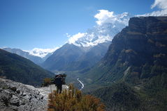 Backpacking in the Annapurna circuit, Nepal royalty free stock photos