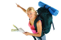 Backpacking girl Royalty Free Stock Image