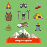 Backpacking and hiking flat icon set Royalty Free Stock Photography