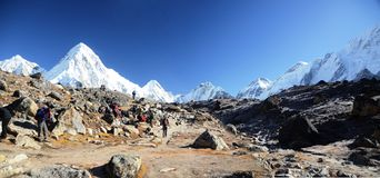 Backpacking in the Himalaya Stock Photo