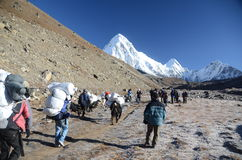 Backpacking in the Himalayas Stock Photo
