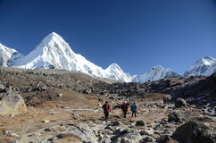 Backpacking in the Himalayas. Backpackers hiking in the Everest base camp trek in Nepal Stock Image