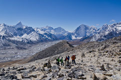 Backpacking in the Himalayas royalty free stock image