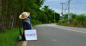Backpacking and hitchhiking Royalty Free Stock Photos