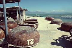 Backpacking, motor, Vietnam, man, seaside Royalty Free Stock Image