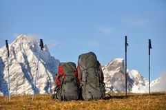 Backpacking in the mountains Royalty Free Stock Photos