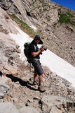 Backpacking in the outdoors. Backpacking in mountains of Colorado, USA Stock Photos