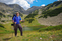 Backpacking outdoors Royalty Free Stock Image