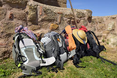 Backpacking of pilgrims Stock Image