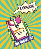 Backpacking retro illustration. Backpack with comic speech explosion and vintage colorful rays in modern pop art style. Vector vector illustration