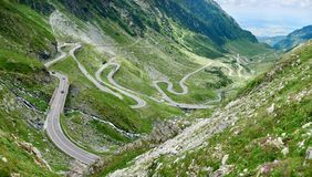 Backpacking in Romania Transfagarasan road scenery. Shot of a stunning landscape in the mountains Transfagarasan road copyspace scenery view background layout Royalty Free Stock Photos