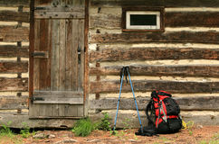 Backpacking to Cabin Royalty Free Stock Photography