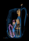 Backpacking under xray on security control. 3D illustration. Stock Image