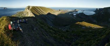 Backpacking- Vaeroy, Lofoten Islands, Norway Royalty Free Stock Photo