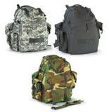Backpacks στρατιωτικών ή κυνηγών επιβίωσης που τίθενται Στοκ Εικόνες