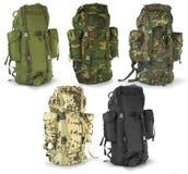 Backpacks охотников воиск или выживания установили Стоковое Фото