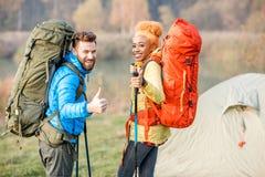 backpacks соединяют hiking стоковое изображение rf