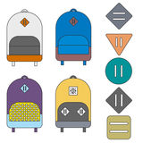 Backpacks. Four flat colorful backpacks and five lash tabs. Lines, cartoon Royalty Free Stock Photos
