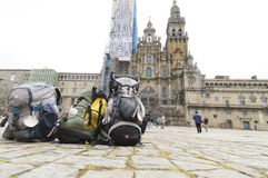 Backpacks in front of Cathedral Santiago de Compos Royalty Free Stock Images
