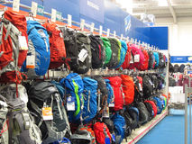 Backpacks or rucksacks on sale in a store. Royalty Free Stock Images