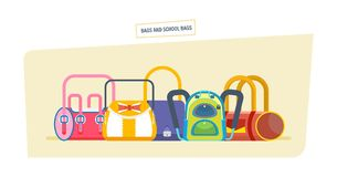 Backpacks and school bags concept. Student satchels collection. Royalty Free Stock Images