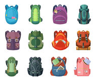 Backpacks for school and hiking. Vector illustration in flat style Stock Photography