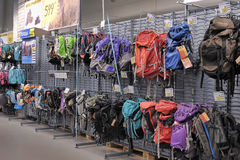 Backpacks in the sports shop Royalty Free Stock Photo