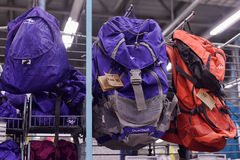 Backpacks in the sports shop Stock Photography