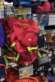 Backpacks in the sports shop Royalty Free Stock Images