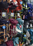 Backpacks in the sports shop Stock Photo