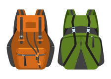 The backpacks for tourism and hikes executed in flat style. Stock Photos