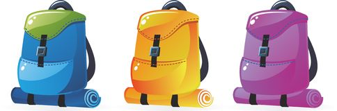 Backpacks in vector Royalty Free Stock Photos